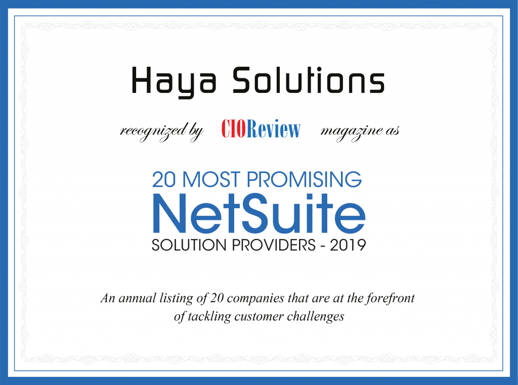 Haya Solutions Inc. on CIOReview Platform - Netsuite.